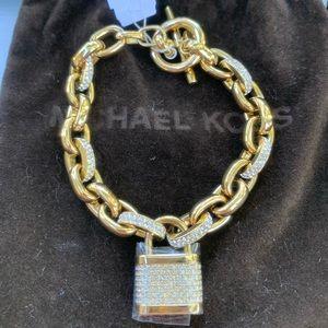 Michael Kors Pave Crystal Padlock Gold Bracelet